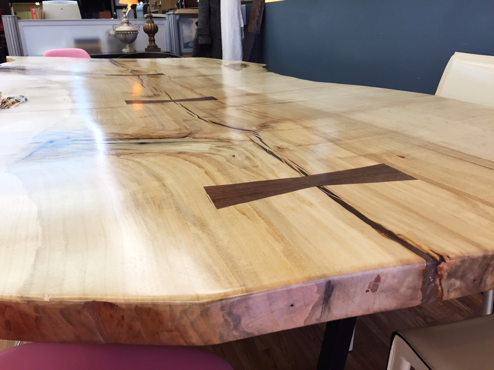 Live Edge Ambrosia Maple Walnut Bow Tie Table 2