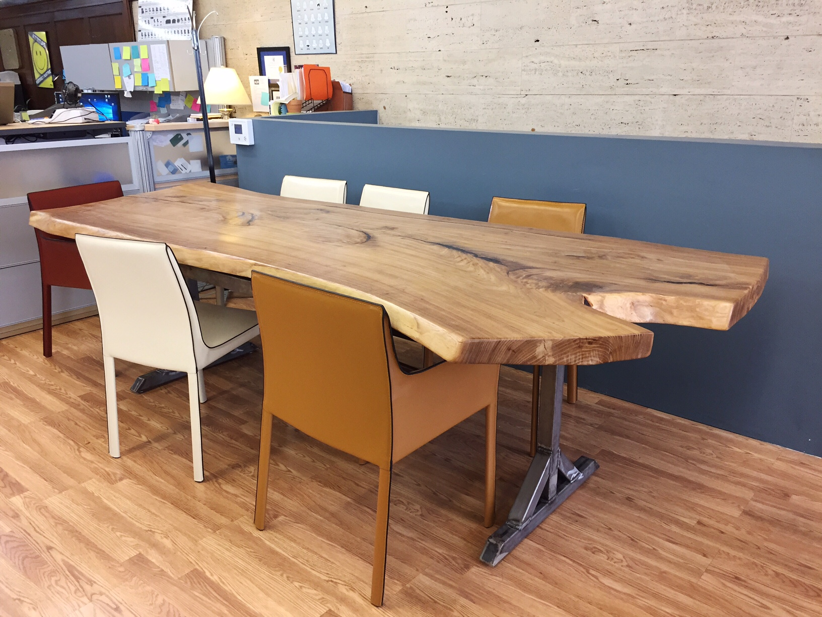 Live Edge Elm Dining Table on Custom Metal Base