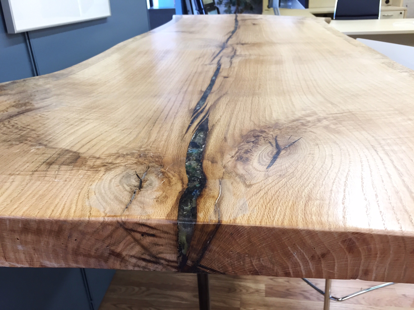 Live Edge Red Oak Glass Inlay Table