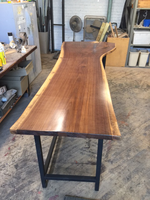 Live Edge Walnut on Custom Metal Specialty Height Base with Shelf 2