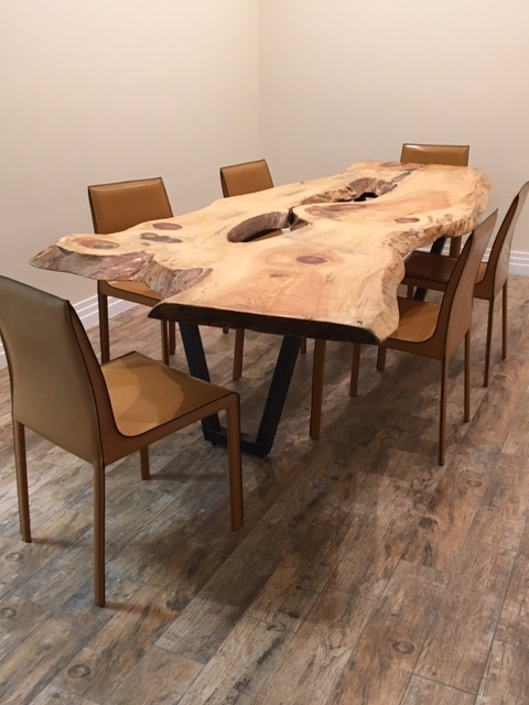 Pine Live Edge Table with Recycled Leather Chairs