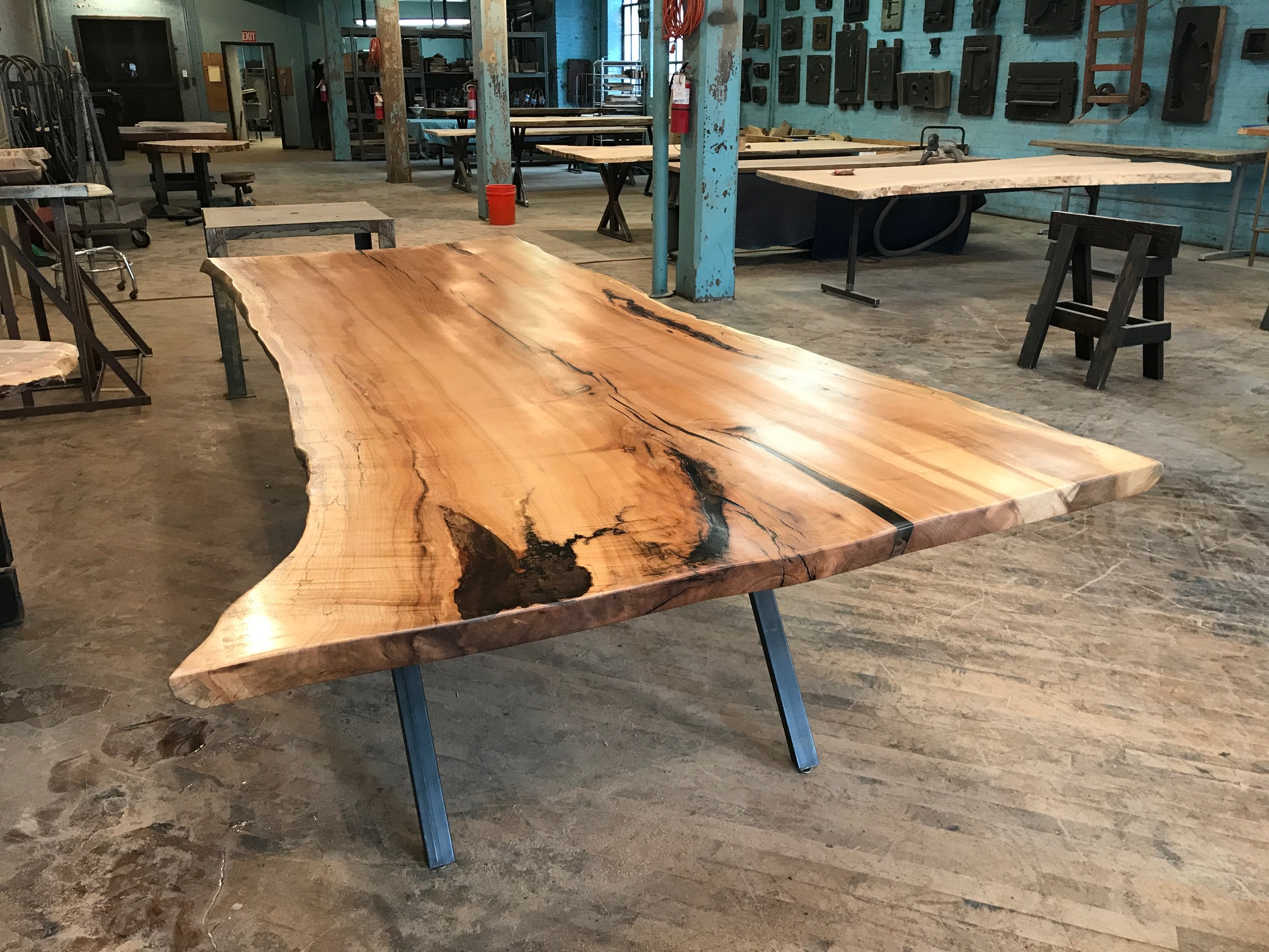 Live Edge Spalted Maple Table on Custom Metal Slanted Leg Base