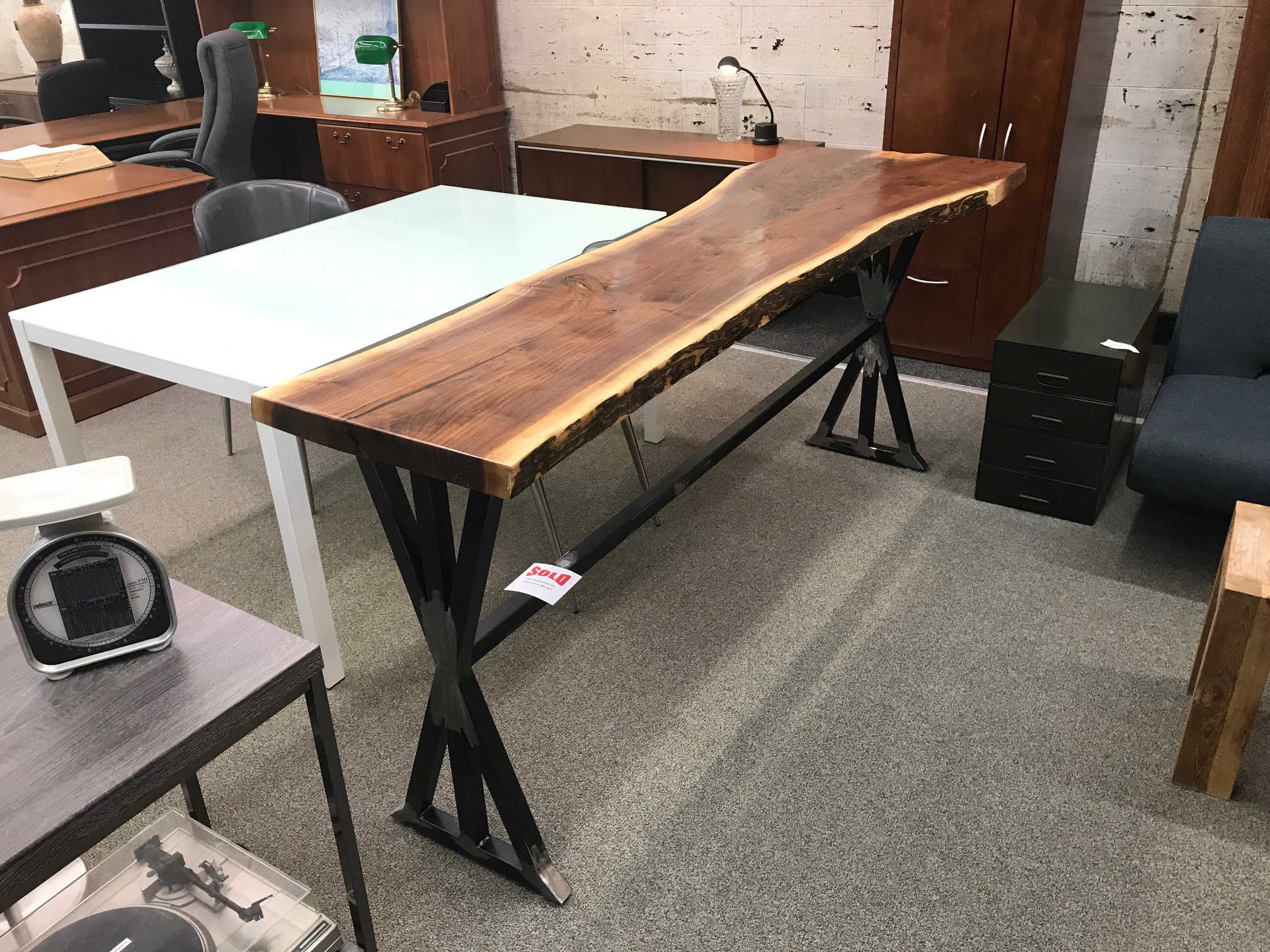 Live Edge Walnut Counter Height Table on Custom Metal X Base