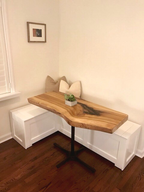 Live Edge Rainbow Poplar Breakfast Nook Table 1