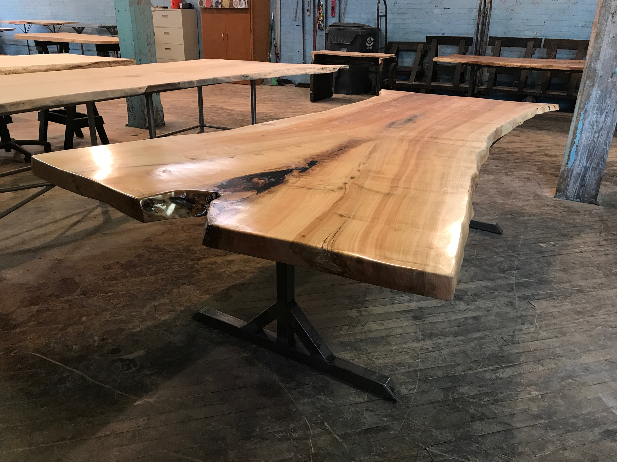 Live Edge Hard Maple on Custom Metal T-Leg Base
