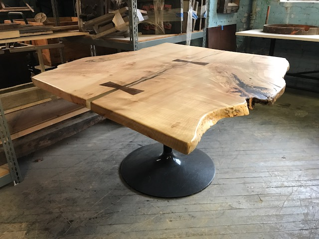 Live Edge Maple Bowtie Table with Reclaimed Tulip Base