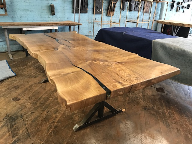 Live Edge Catalpa on Custom Metal T-Leg Base
