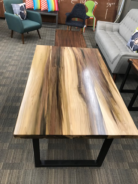 Custom Poplar Wood Table with Square Metal Base 2