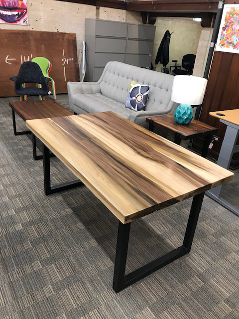 Custom Poplar Wood Table with Square Metal Base