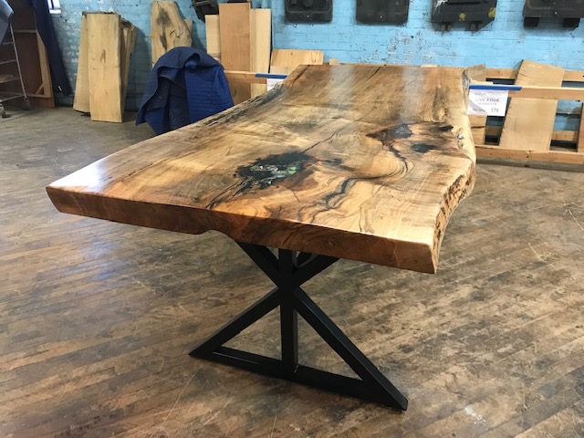 Live Edge Maple w Stained Glass on Custom Metal X Base