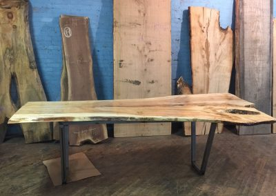 Live Edge Ambrosia Maple Table with Metal Trapezoid Base 2