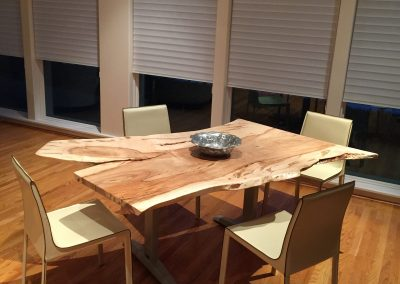Live Edge Ambrosia Maple Table with Reclaimed Base and Recycled Leather Chairs 2