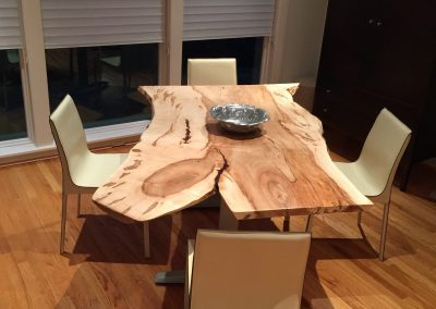 Live Edge Ambrosia Maple Table with Reclaimed Base and Recycled Leather Chairs