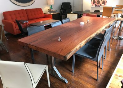 Live Edge Angelim Pedra on Custom Metal T-Leg Dining Base