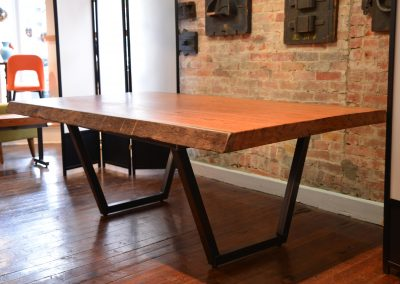 Live Edge Angelim Pedra Table on Custom Trapezoid Base 1