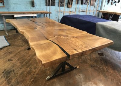 Live Edge Catalpa on Custom Metal T-Leg Base 1
