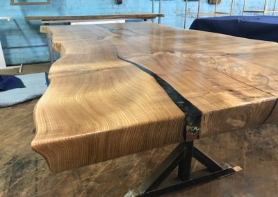 Live Edge Catalpa on Custom Metal T-Leg Base 2