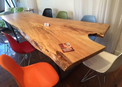 Live Edge Maple Dining Table on Custom Metal Trapezoid Base