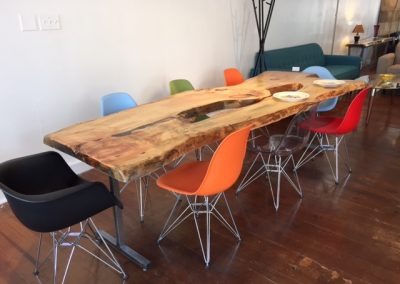 Live Edge Pine on Custom Metal T-Leg Dining Base 1
