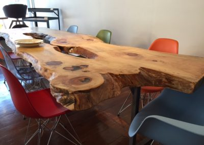 Live Edge Pine on Custom Metal T-Leg Dining Base 2