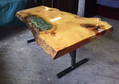 Live Edge Pine with Stained Glass Inlay on Custom Metal T-Leg Base