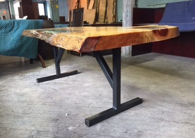 Live Edge Pine with Stained Glass Inlay on Custom Metal T-Leg Base 2
