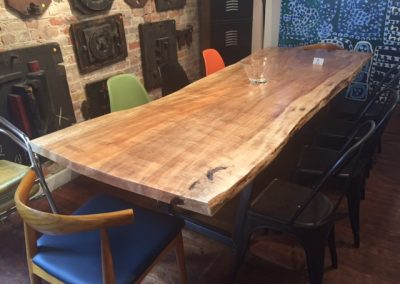 Live Edge Poplar Dining Table on Custom Metal Trapezoid Base 1