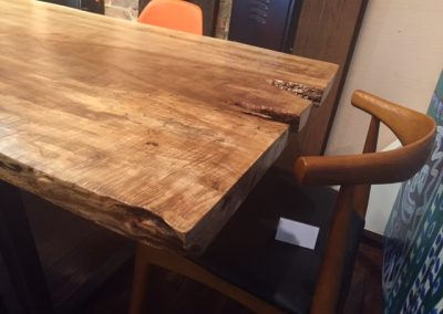 Live Edge Poplar Dining Table on Custom Metal Trapezoid Base 2