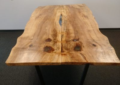 Live Edge Sugar Maple Bow Tied Dining Table on Custom Metal Trapezoid Base 1