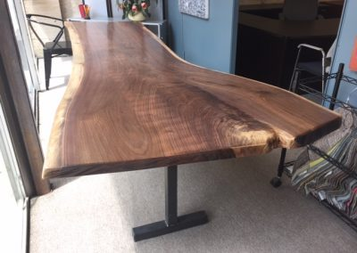 Live Edge Walnut Dining Table on T-Leg Base 2
