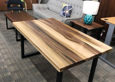 Custom Poplar Wood Table with Square Metal Base 1
