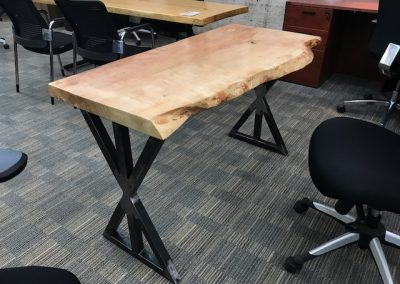 Live Edge Ambrosia Maple Desk on Custom Metal X Base