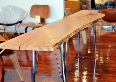 Live Edge Ash Console Table on Reclaimed Base