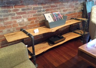 Live Edge Ash Console Table with Pipe Legs