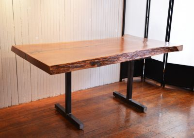 Live Edge Cherry with Glass Inlay on Custom Metal Counter Height T-Leg Base 1
