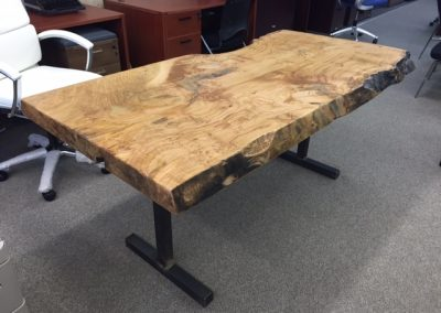 Live Edge Chestnut Desk on Custom Metal T-Leg Base