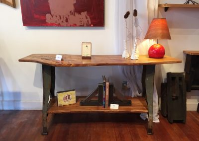 Live Edge Elm Console Table on Reclaimed Industrial Base