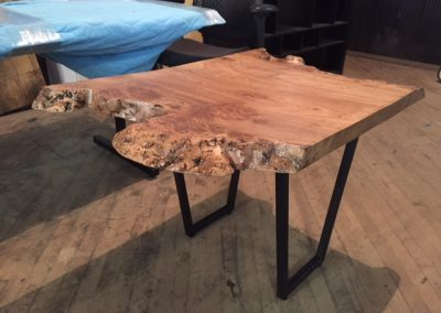 Live Edge Elm End Table on Trapezoid Legs