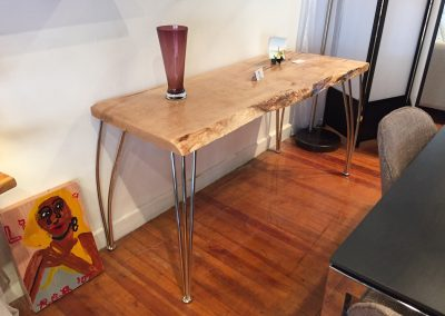 Live Edge Maple Console Table on Reclaimed Base