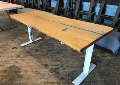 Live Edge Oak with Blue Epoxy Detail Height Adjustable Desk