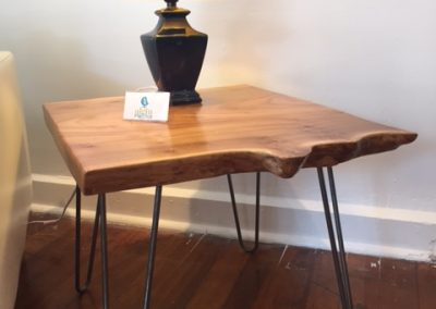 Live Edge Poplar End Table on Hairpin Legs
