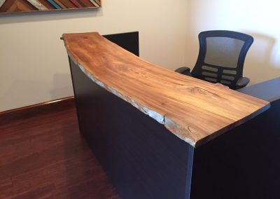Live Edge Poplar on Black Cherry Reception Desk 1