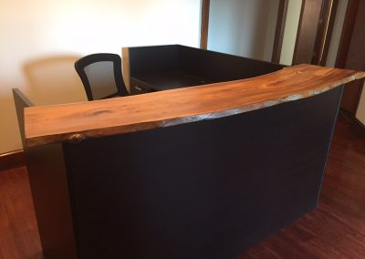 Live Edge Poplar on Black Cherry Reception Desk 2