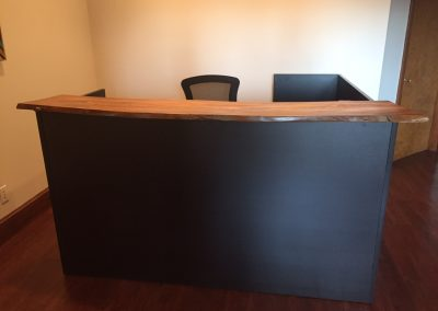 Live Edge Poplar on Black Cherry Reception Desk 3