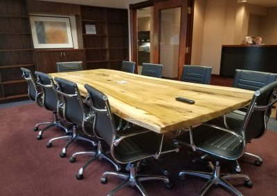Live Edge Rainbow Poplar Conference Table on Custom Metal T-Leg Base 1