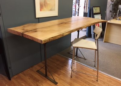 Live Edge Red Oak Glass Inlay Standing Desk
