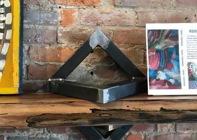 Live Edge Shelf with Custom Metal Triangle Brackets 2
