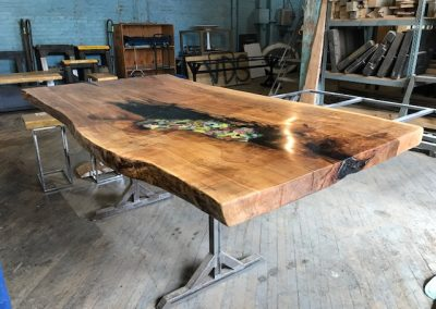Live Edge Spalted Maple with Stained Glass Detail Counter Height Table 1