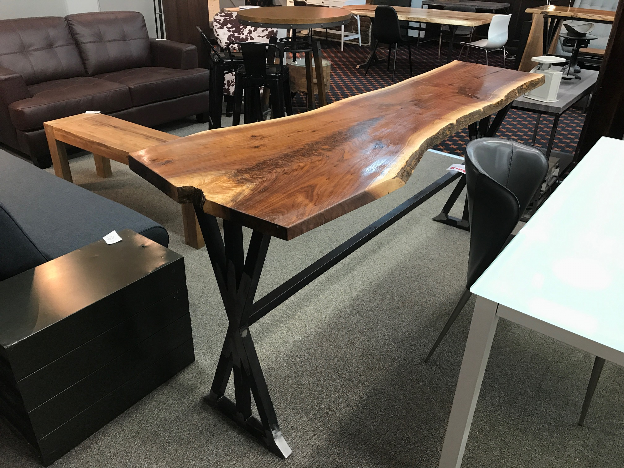 Live Edge Walnut Counter Height Table On Custom Metal X Base 1