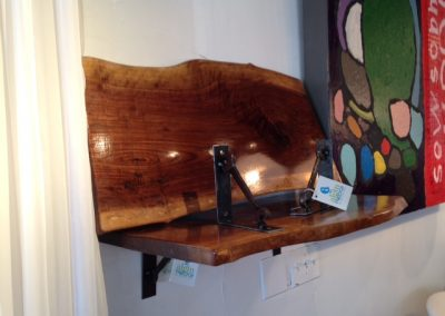 Live Edge Walnut Shelves with Custom Metal Brackets